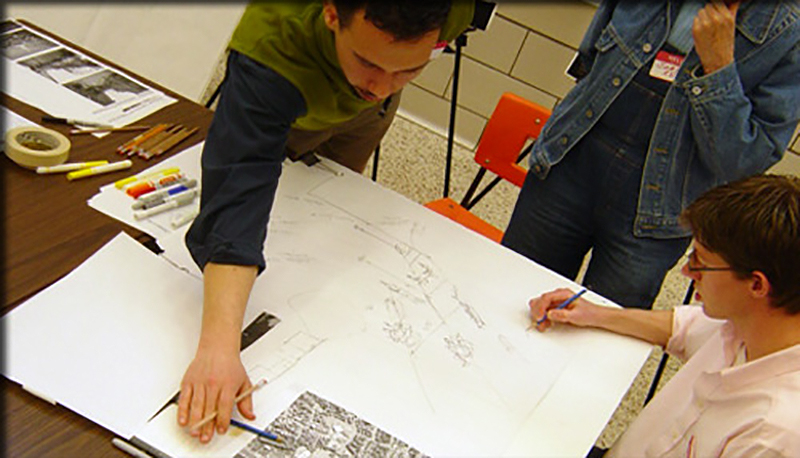 students designing the project