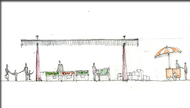 sketch of a market