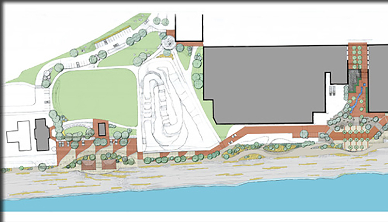 sketch of riverfront improvements