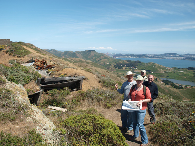 Intern Laura Roberts with ESF and NPS staff at Marin Headlands, Golden Gate National Recreation Area
