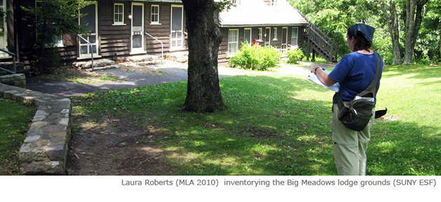 Laura Roberts inventorying the Big Meadows lodge grounds