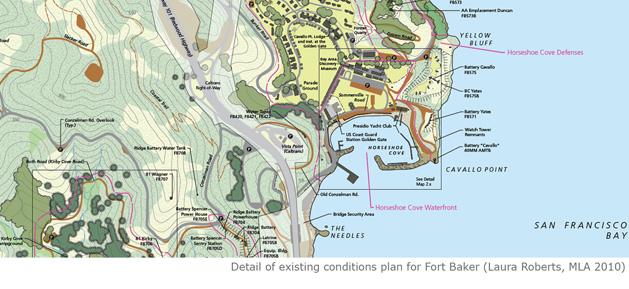 Details of existing conditions plan for Fort Baker