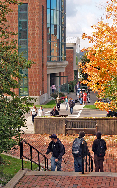 students walk around ESF campus