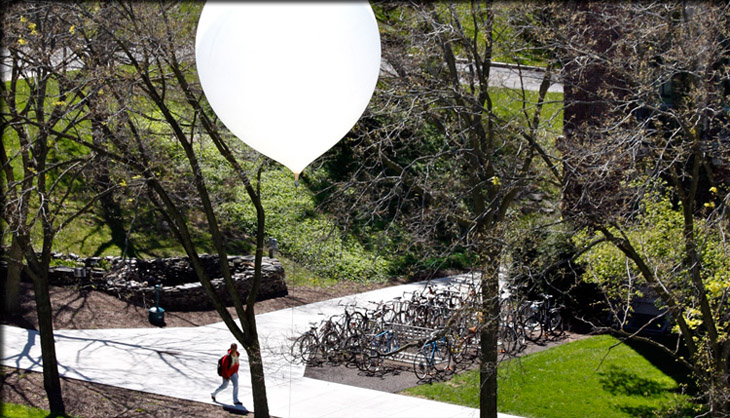 Balloon rising from the ESF Quad