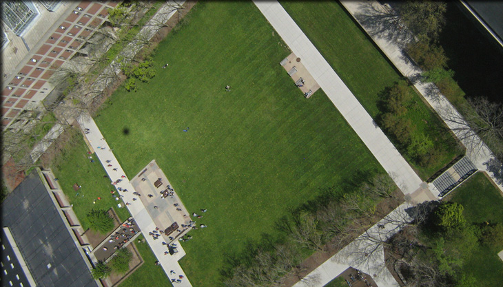 The cameras, shooting in timed sequence, capture the Quad from above