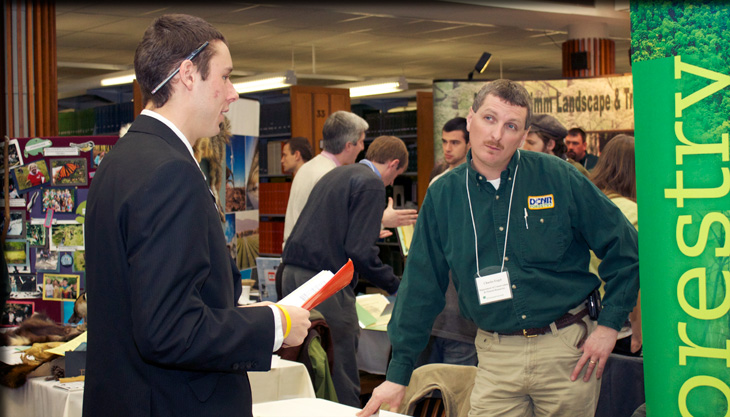 student at environmental career fair