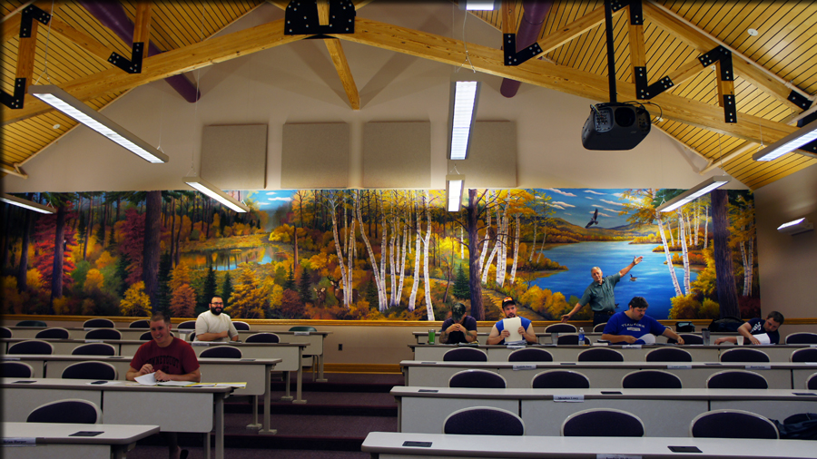 room with the mural