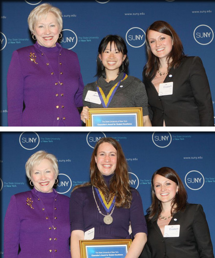 Jennifer Ma (top) and Shannon Carpenter (bottom) with Chancellor Zimpher (left) and Elizabeth Mix (right)