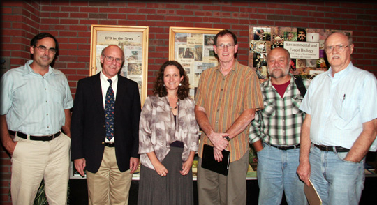 From left, Dr. John M Farrell, Dir. Thousand Islands Biological Station; ESF VP of Research Neil H Ringler; NY Sea Grant Associate Dir. Dr. Kathy Bunting-Howarth; Great Lakes Research Consortium Dir. Gregory L Boyer of ESF; Cornell University Prof. Lars G Rudstam; and ESF Prof. Donald J Stewart
