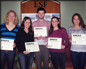 Students honored by the USCAA include, from left,  Megan Kuczka, Christina Elliott, Dan Arseneau, Drew Gamils and Ashley Miller.