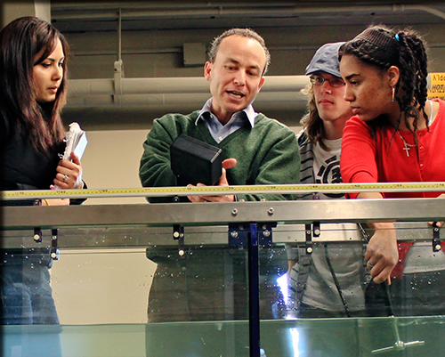 Ted Endreny with students in hydrology lab