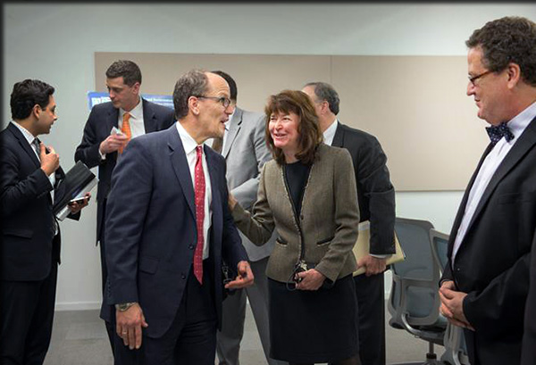 ESF President Quentin Wheeler, right, meets with U.S. Secretary of Labor Thomas E. Perez and Amy Casper, CEO of Ephesus, during an announcement in Pulaski regarding the Ready to Work Partnership.