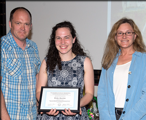 Dr. Mark Teece of the ESF Department of Chemistry; Katy Austin; and Dr. Linda Ivany of Syracuse University, the Norma Slepecky Undergraduate Research Prize Chair