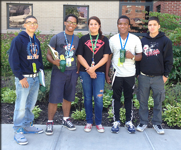 First-year students, from left, Justin Vargas, Christopher Cruz, Leia Scalley, Derrick Rice and Cornelius Rosario joined the rest of the incoming students for orientation Aug. 19. These students  had arrived on campus three days earlier to participate in pre-orientation activities.