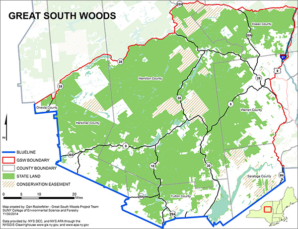 Visit the Great South Woods webpage to view larger version