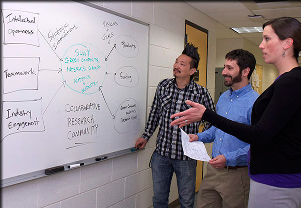 L to R: Drs. Christopher Nomura, Paul Hirsch and Whitney Lash-Marshall discuss a diagrammed model for collaboration.