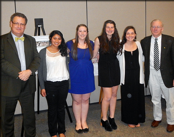 Pictured from the 2014 Engineers with Appetites dinner are, from left ESF President Quentin Wheeler, former EWB/ESS President Ana Flores, former EWB/ESS treasurer Sam Meserve, current EWB/ESS president Kristine Ellsworth. Katie Mott and Dr. Neil Murphy, former ESF president.