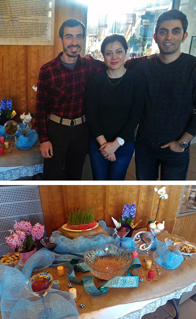 Top photo: Shahriar S. Heydari (left), Niki Ashouri and Reza Abdi created a display in the Gateway Center to educate the ESF community about the Persian New Year.