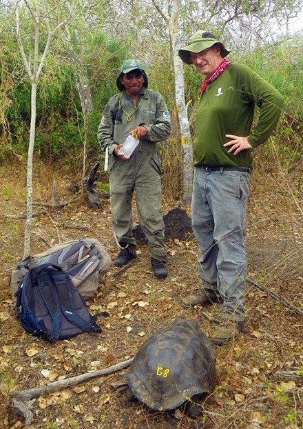 Dr. James Gibbs and Jeffreys Malaga, a Galapagos National Park ranger