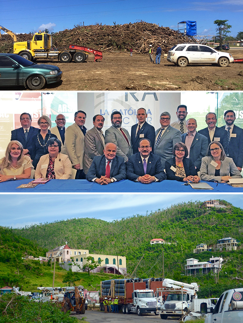 Photos at top and bottom show relief efforts underway in Puerto Rico. In middle photo, Mark Lichtenstein (fourth from left, back row) joins SUNY colleagues on a recent trip to the island.