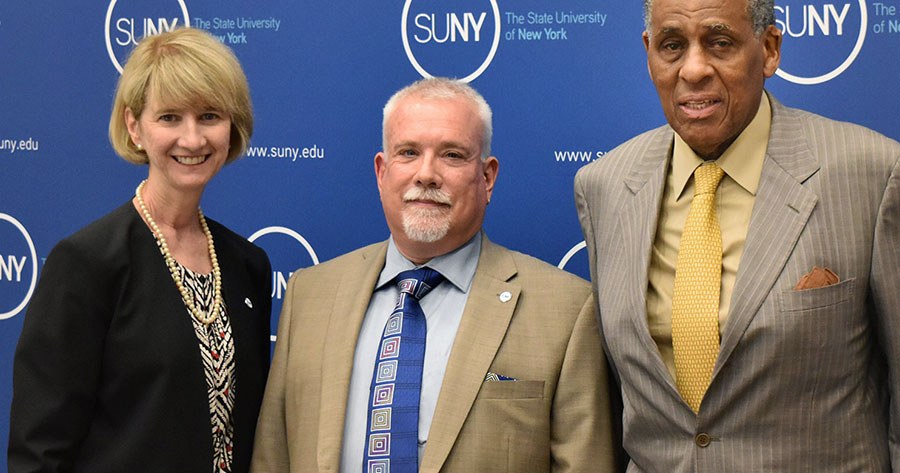 From left: SUNY Chancellor Kristina M. Johnson, David C. Amberg, SUNY Board Chairman H. Carl McCall