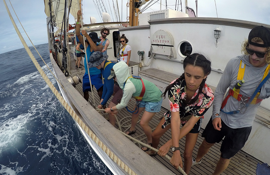 Students aboard  the SSV Corwith Cramer in the Caribbean