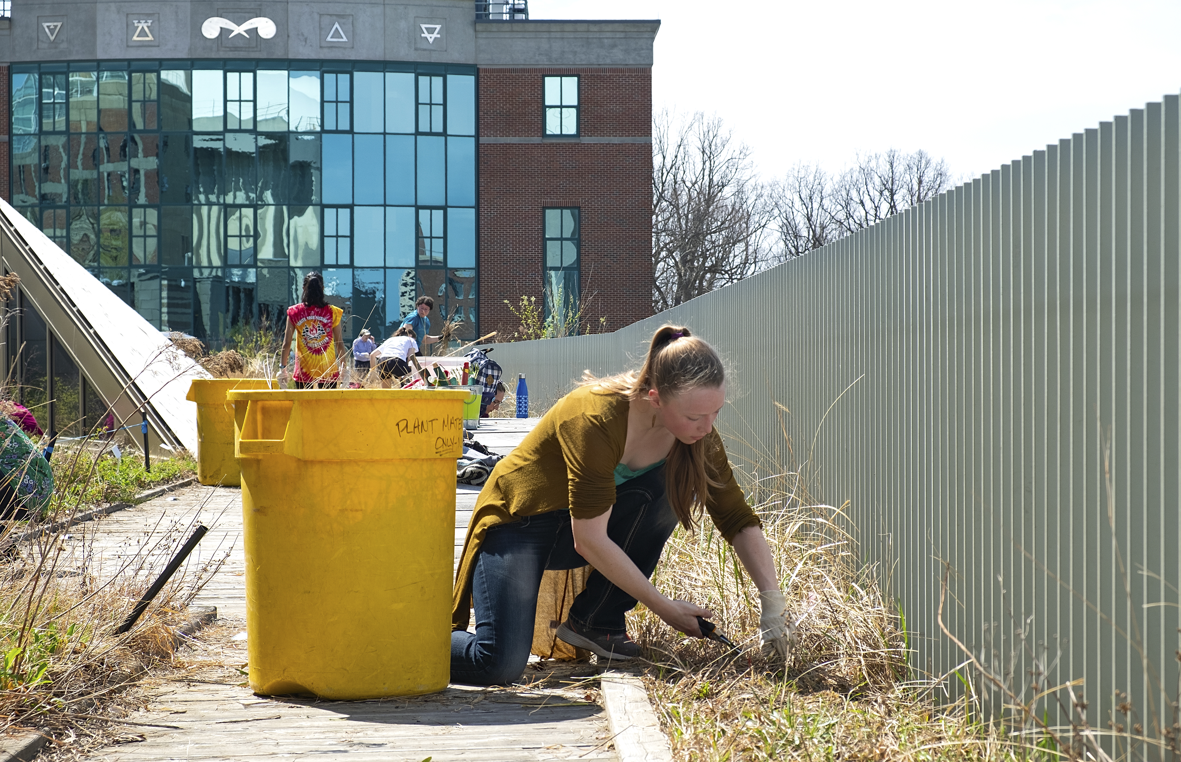 ESF students prepare the Gateway green roof garden for spring.