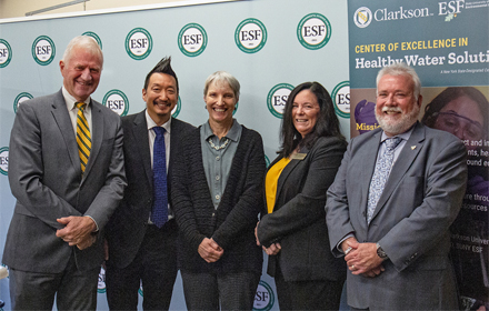 Pictured from left, Clarkson President Anthony Collings, Dr. Christopher Nomura, vice president for research programs at ESF; Senator Rachel May, Clarkson Provost Robyn Hannigan, and ESF Interim President David Amberg.