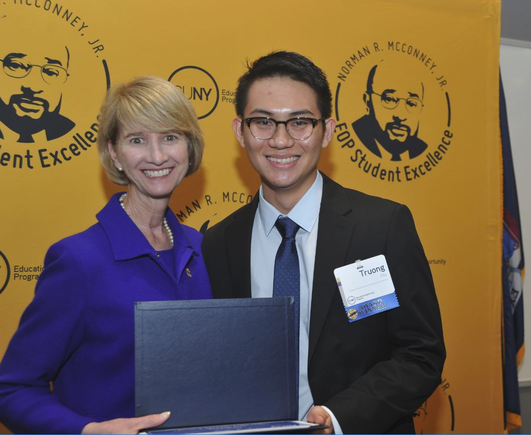SUNY Chancellor Kristina Johnson and Truong Ho, Norman R. McConney Jr. Award for Student Excellence honoree.