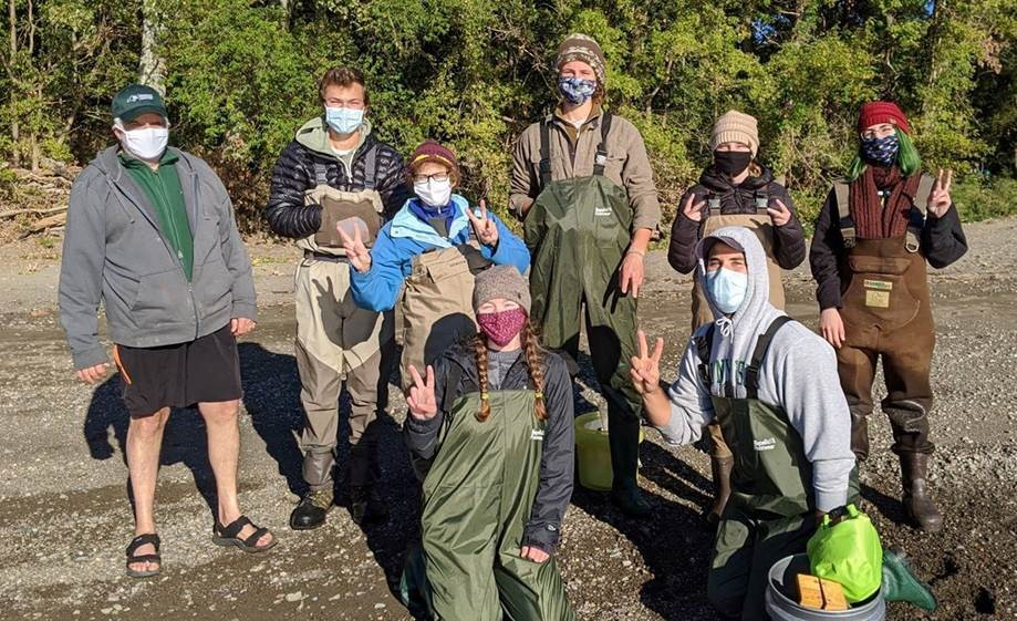 Dr. Karin Limburg and a group of students performing fisheries habitat evaluations in 2020