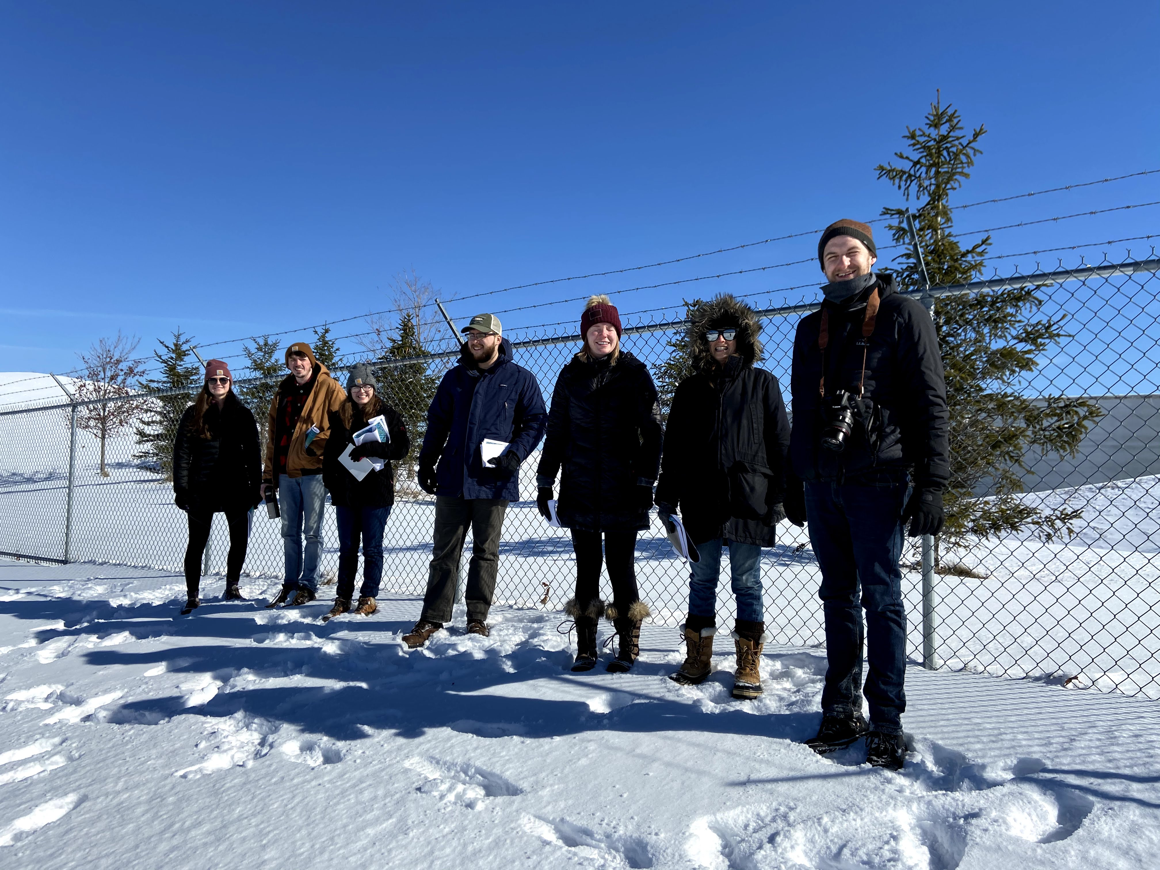The student team visited the Westcott Reservoir in February 2020 (before masking and social distancing mandates were enacted) to walk the site and observe existing conditions, including winter use activities.