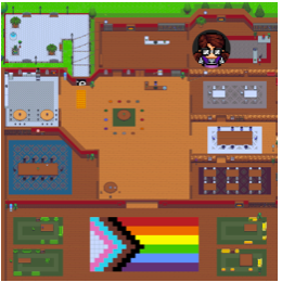 """A large virtual space with a sign stating """"Welcome to OIDE! Office of Inclusion, Diversity & Equity"""", representing the Office of Inclusion Diversity, and Equity. The space has tables, chairs, conference rooms libraries. A video of a participant is showing in the bottom right corner."""