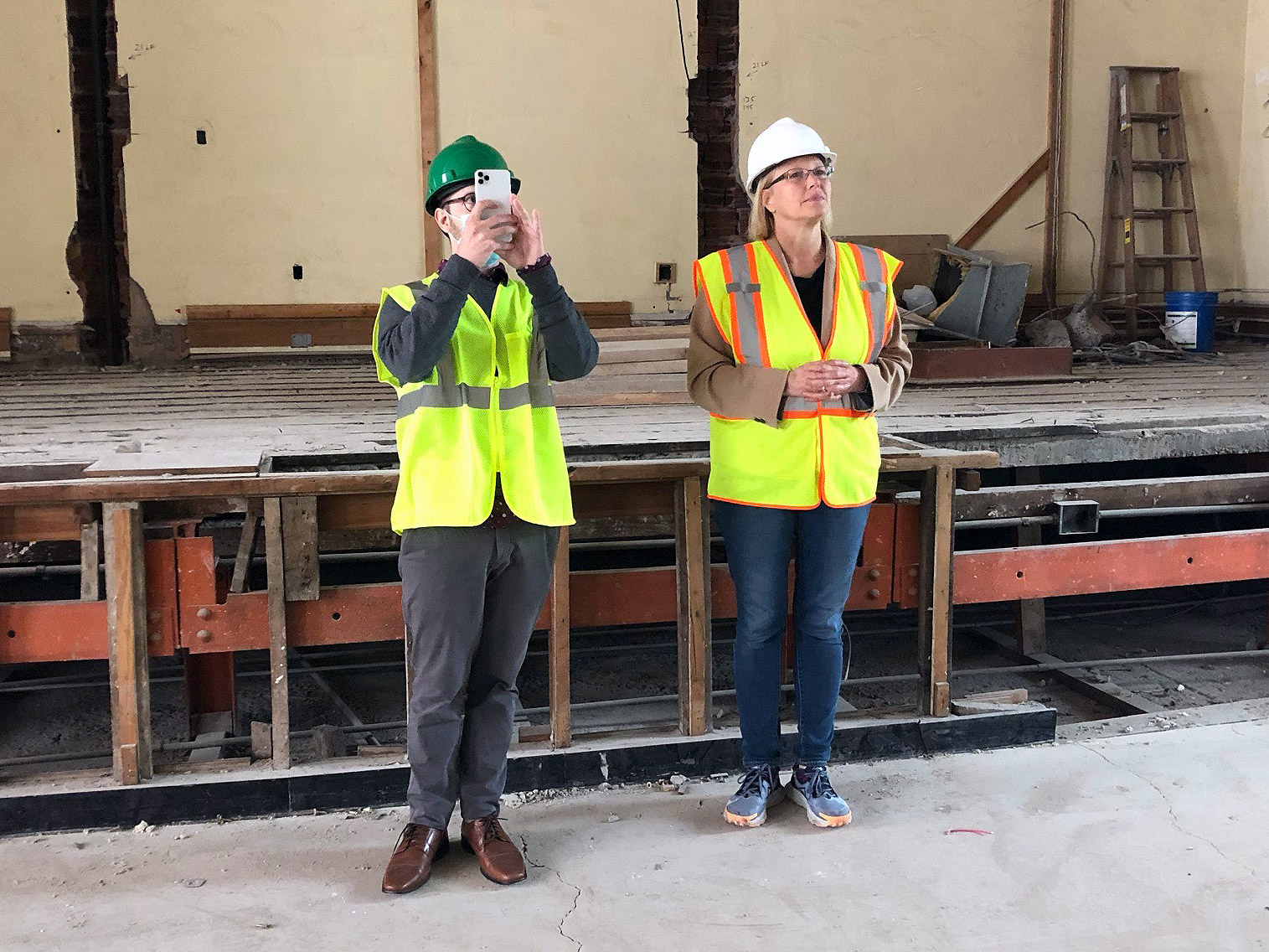 David Haas, owner of the popular @SyracuseHistory Instagram account, tours Marshall with ESF President Joanie Mahoney. Photo by Claire B. Dunn