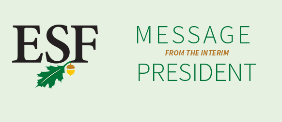 ESF MESSAGE FROM THE INTERIM PRESIDENT