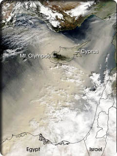 satellite image of Cyprus showing how sand is carried from the Sahara desert to Cyprus