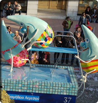 Anothe picture of a float from the Carnival Parade showing a swimming pool