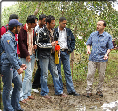 Cyprus students measuring ephemeral stream for surface roughness