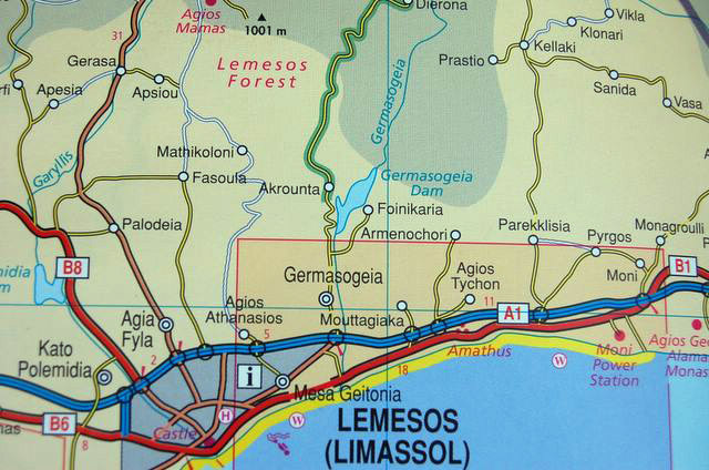 Map of Lemesos, Cyprus