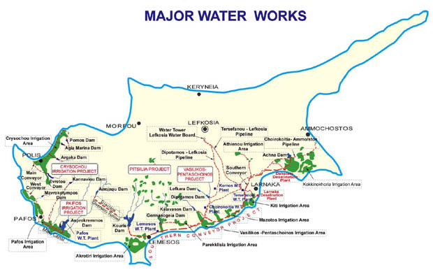 Map showing major water works in Cyprus