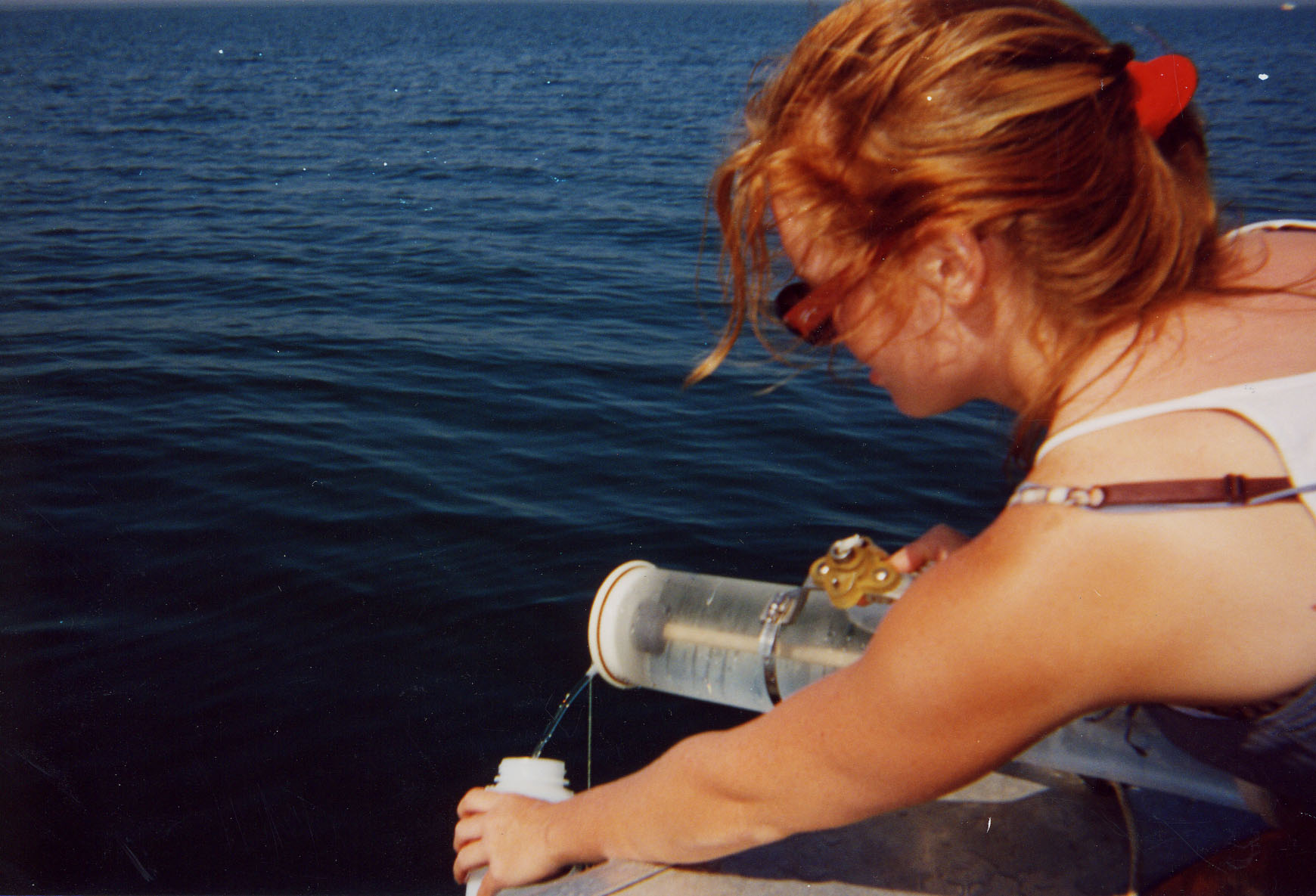 Jesse Ritter sampling Lake Ontario in 2001