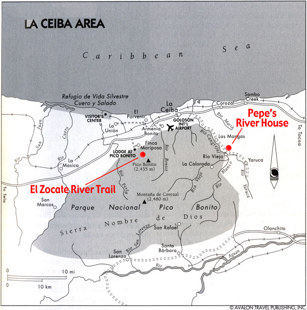 Map of Pico Bonito National Park