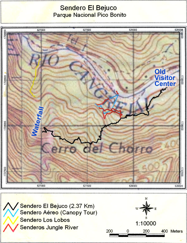 Trail map in Pico Bonito National Park