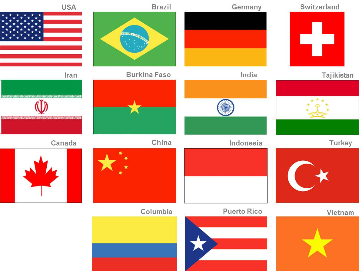 flags from several nations