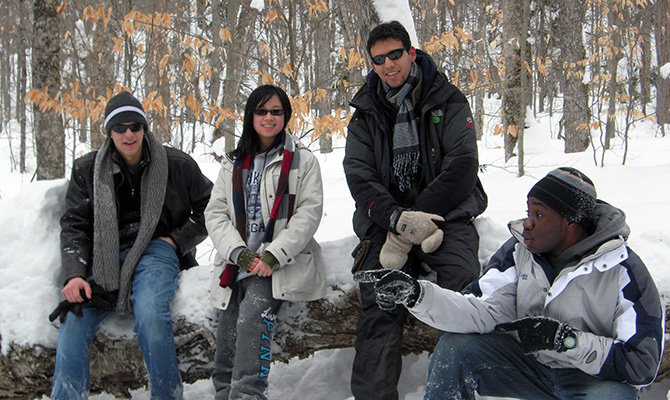 Students in Snow
