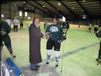 hockey player being shaking hands