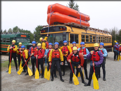 a group of students ready to go rafting