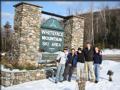 In front of the Whiteface Mountain ski area
