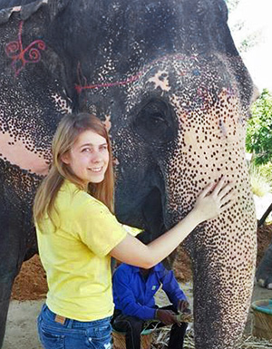 Hannah Baghdadi with Elephant