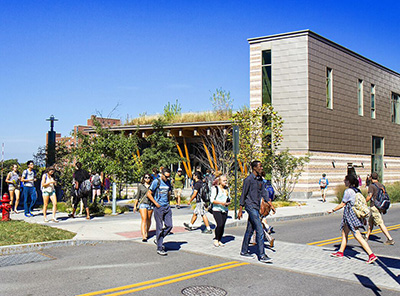 students walking in front of Gateway Center