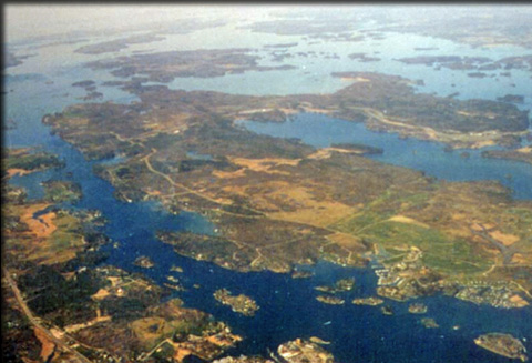 aerial view of St. Lawrence river thousand islands